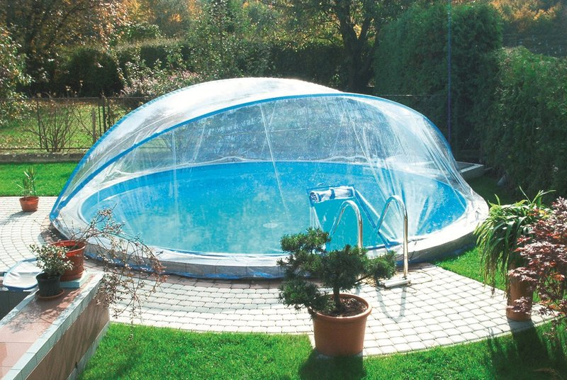 abdeckung cabrio dome 4 50m rund pool berdachung schwimmbecken ebay. Black Bedroom Furniture Sets. Home Design Ideas