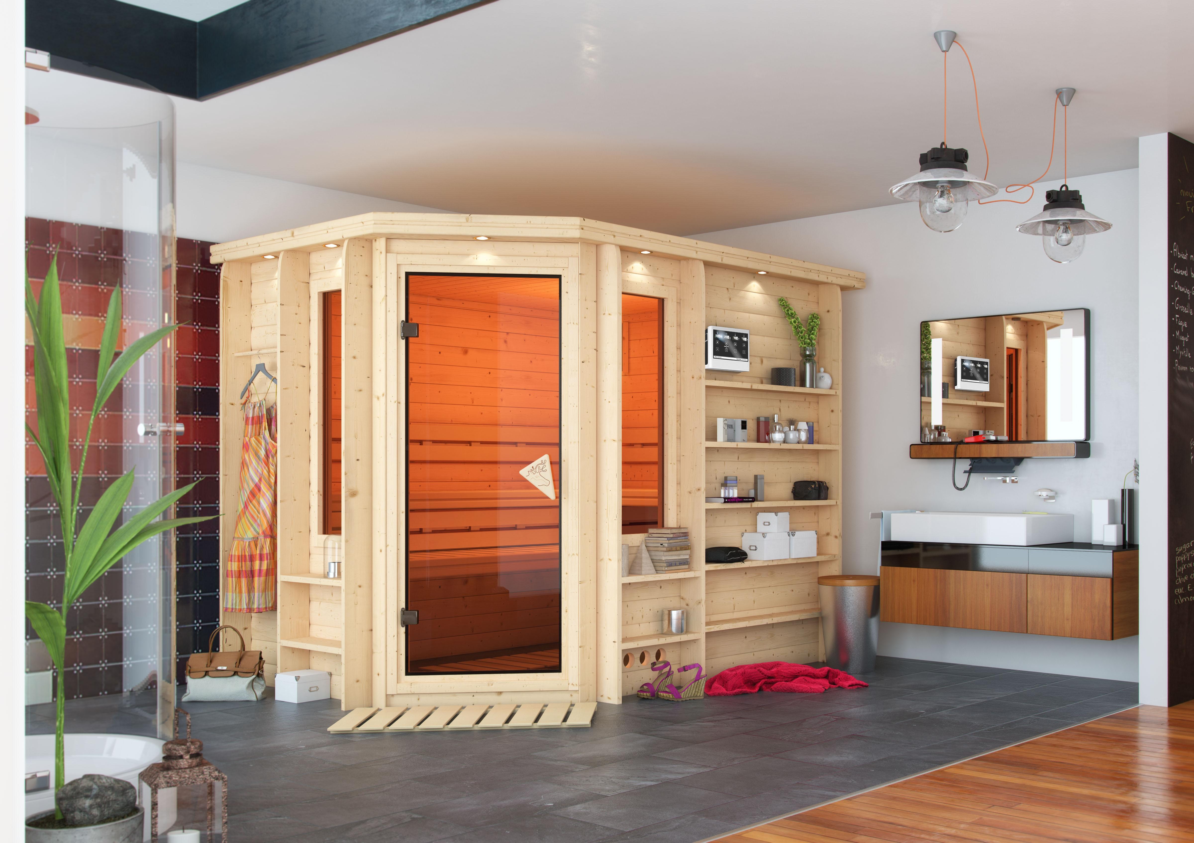 sauna heimsauna massivholz eckeinstieg 262 x 253 x 212 cm saunakabine karibu ebay. Black Bedroom Furniture Sets. Home Design Ideas