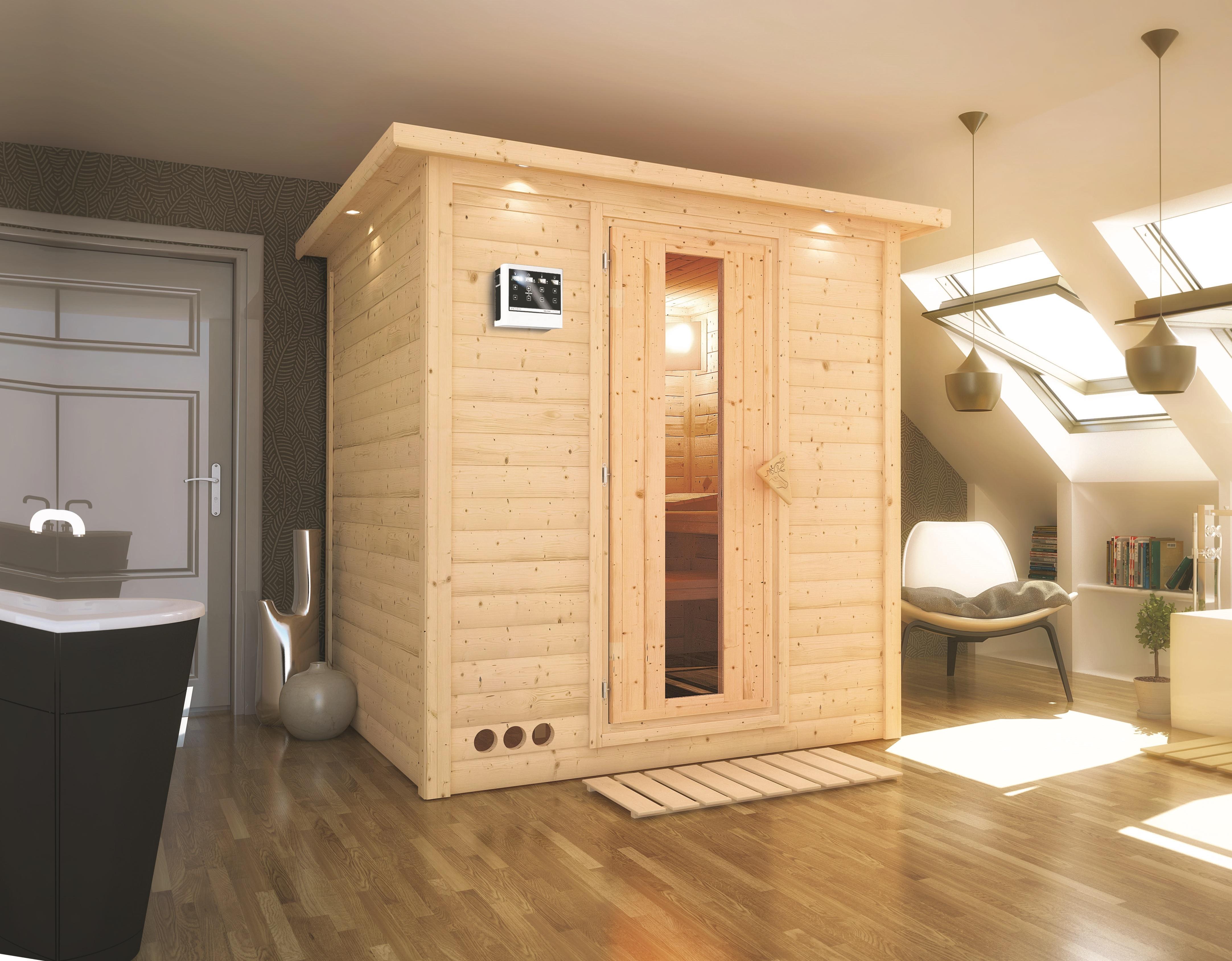 sauna heimsauna massivholz fronteinstieg 193 x 184 x 209. Black Bedroom Furniture Sets. Home Design Ideas