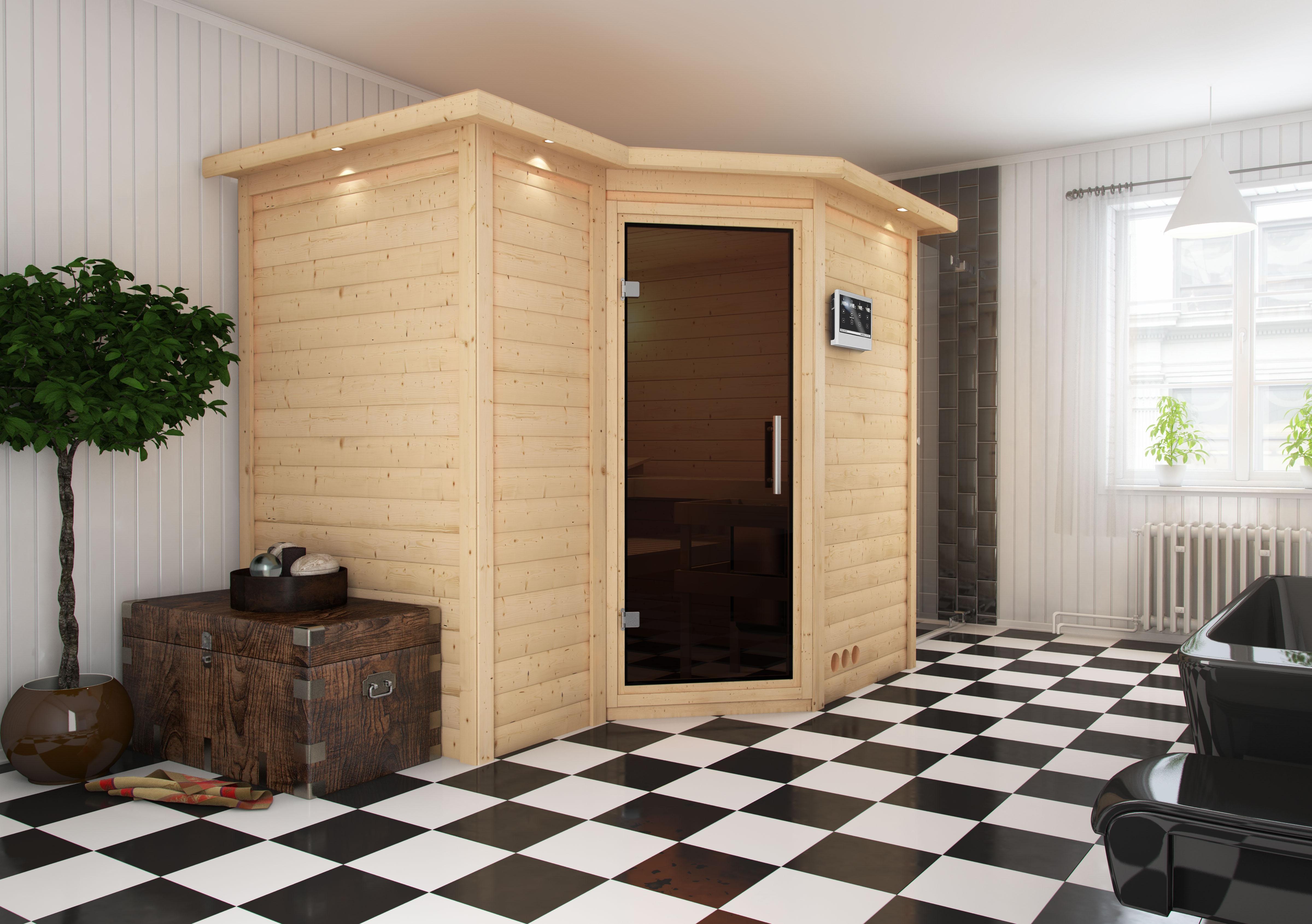 sauna heimsauna massivholz eckeinstieg 236 x 184 x 206 cm. Black Bedroom Furniture Sets. Home Design Ideas