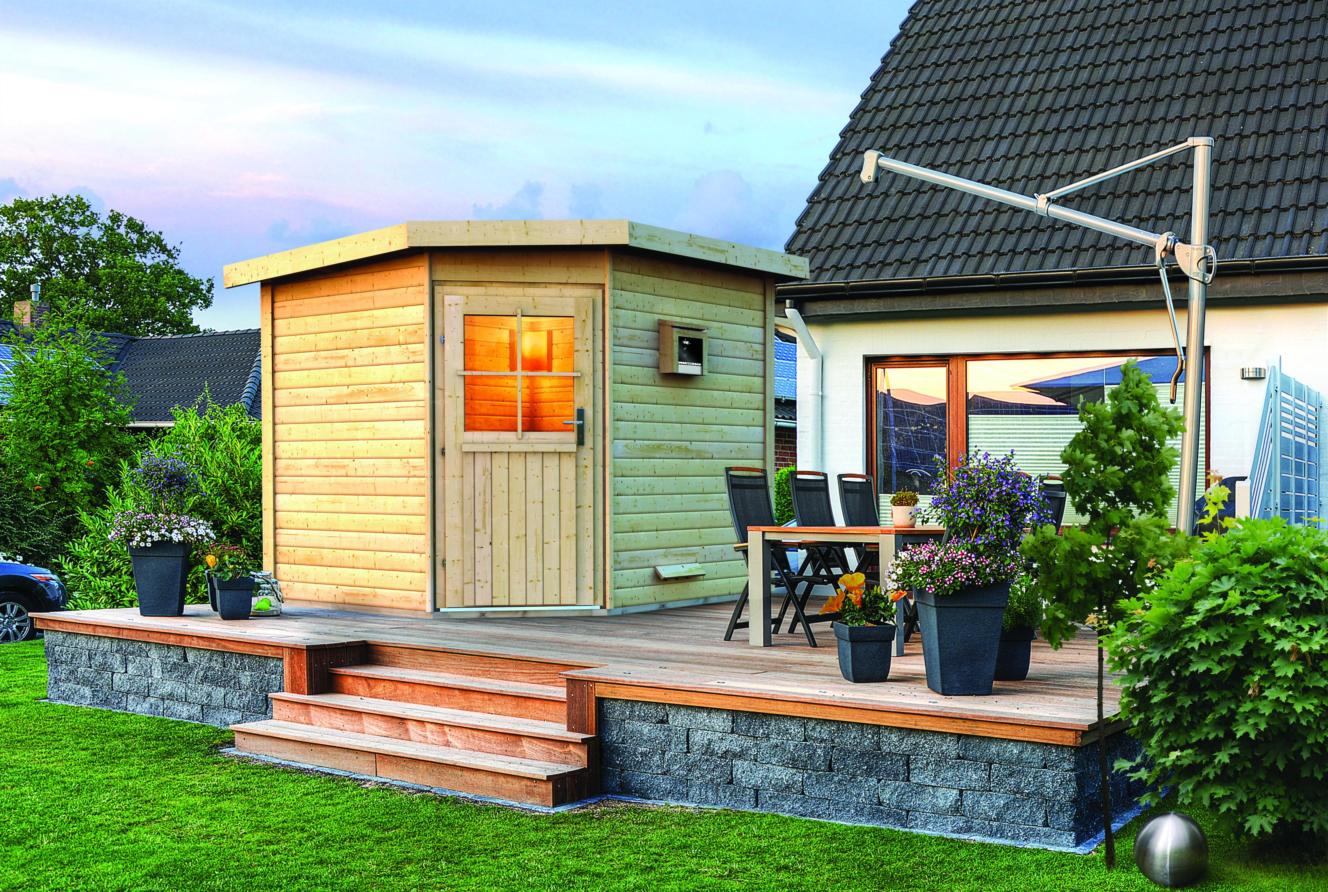 sauna outdoor au ensauna 196 x 196 x 226 cm saunahaus. Black Bedroom Furniture Sets. Home Design Ideas