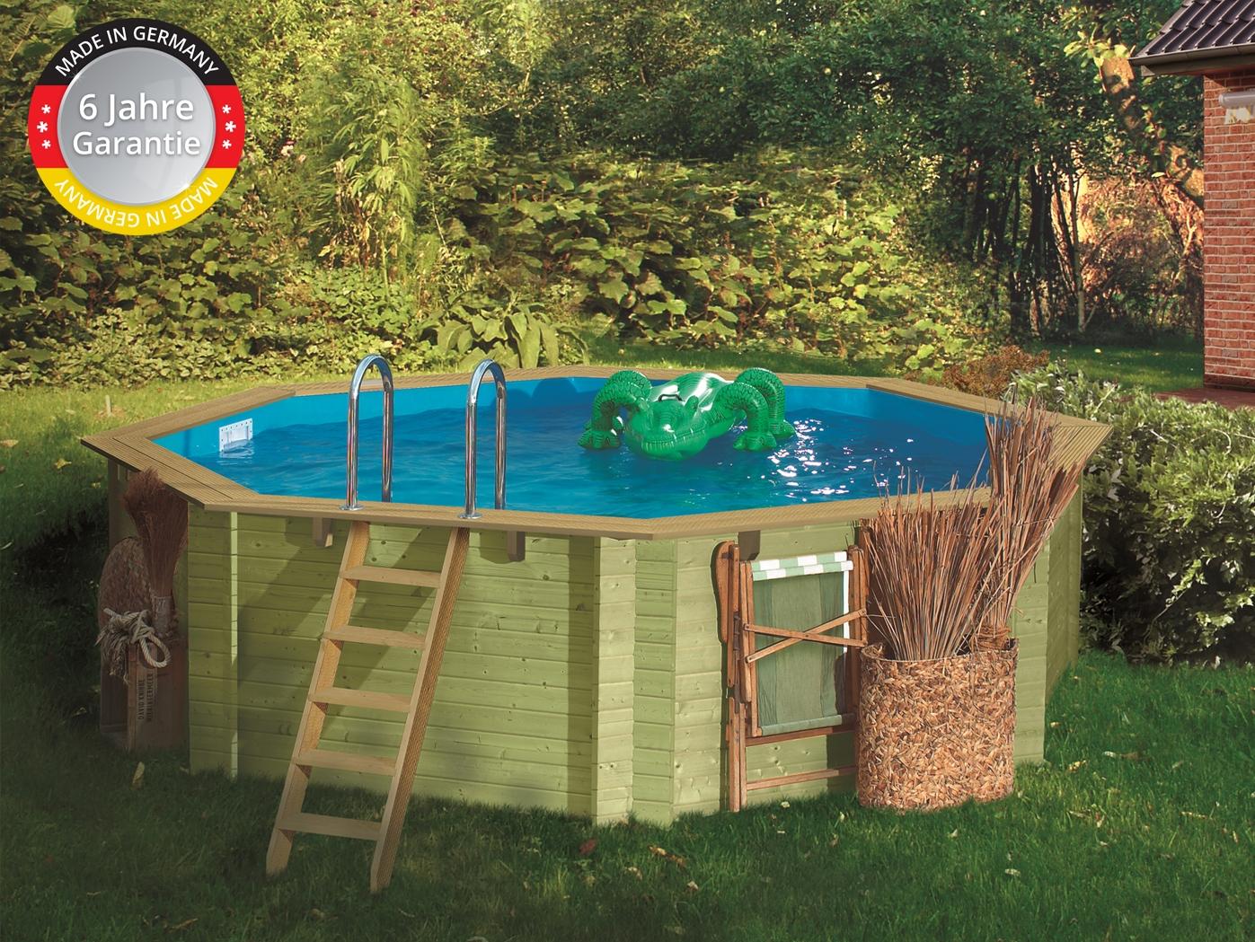 Schwimmbecken Holz Pool 4,00x1,20m 0,6mm Blau Komplettset Pool Edelstahl  Leiter